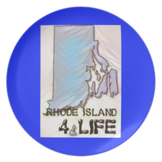 """Rhode Island 4 Life"" State Map Pride Design Plate"