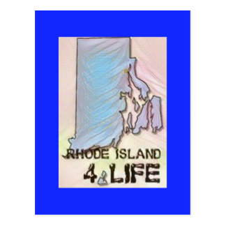 """Rhode Island 4 Life"" State Map Pride Design Postcard"
