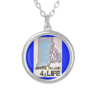 """""""Rhode Island 4 Life"""" State Map Pride Design Silver Plated Necklace"""