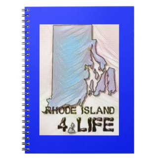 """Rhode Island 4 Life"" State Map Pride Design Spiral Notebook"