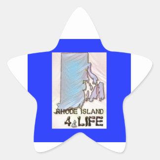 """Rhode Island 4 Life"" State Map Pride Design Star Sticker"