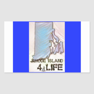 """Rhode Island 4 Life"" State Map Pride Design Sticker"