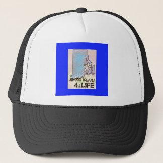 """Rhode Island 4 Life"" State Map Pride Design Trucker Hat"