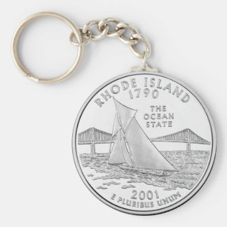 Rhode Island Basic Round Button Keychain
