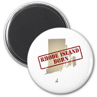 Rhode Island Born - Stamp on Map 2 Inch Round Magnet