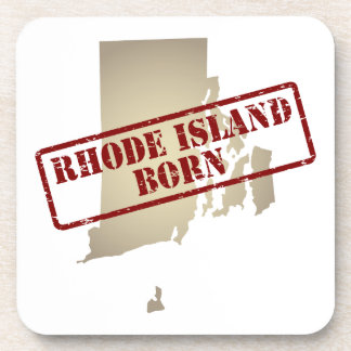 Rhode Island Born - Stamp on Map Beverage Coasters