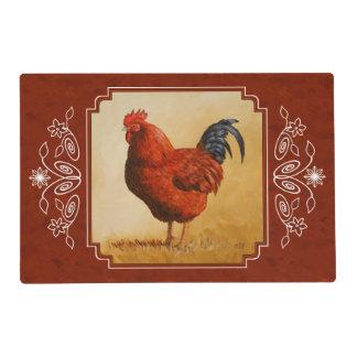 Rhode Island Chicken Red Background Laminated Place Mat