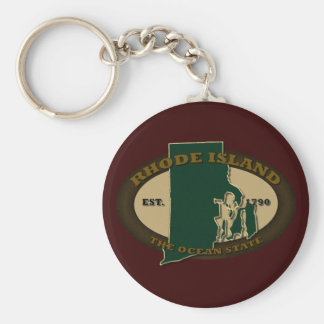 Rhode Island Est 1790 Basic Round Button Keychain