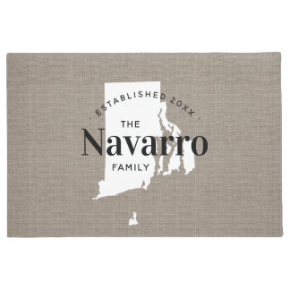 Rhode Island Family Monogram State Doormat
