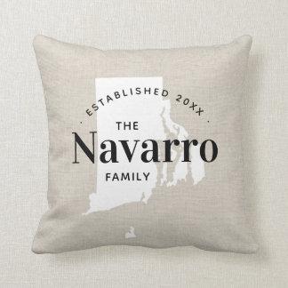 Rhode Island Family Monogram State Throw Pillow