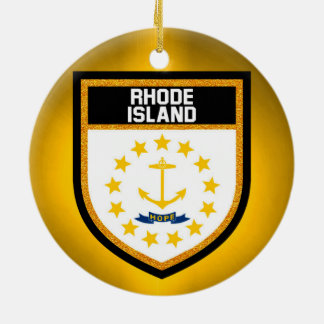 Rhode Island Flag Ceramic Ornament