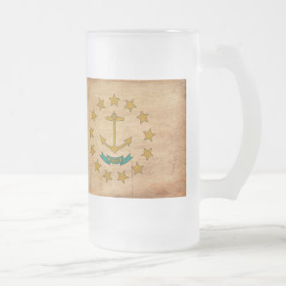 Rhode Island Flag Frosted Glass Beer Mug