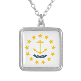 Rhode Island Flag Silver Plated Necklace