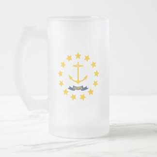 Rhode Island Frosted Glass Beer Mug