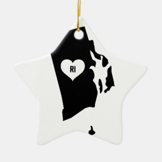 Rhode Island Love Ceramic Ornament