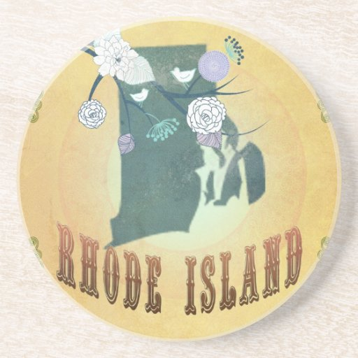Rhode Island Map With Lovely Birds Drink Coaster