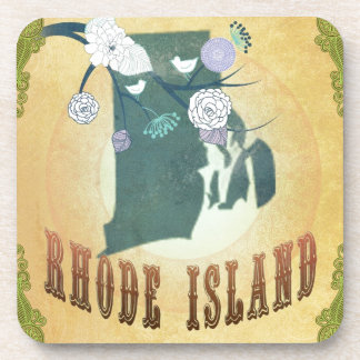 Rhode Island Map With Lovely Birds Coasters