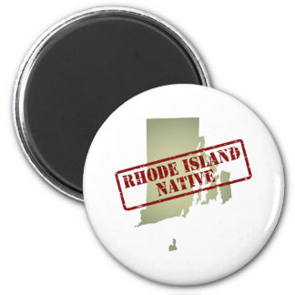 Rhode Island Native Stamped on Map 2 Inch Round Magnet