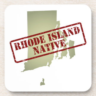 Rhode Island Native Stamped on Map Coaster
