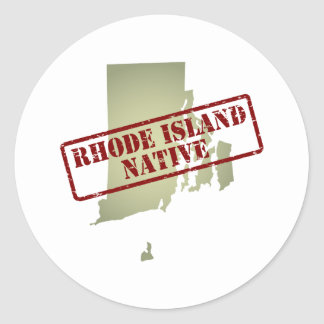 Rhode Island Native Stamped on Map Round Sticker