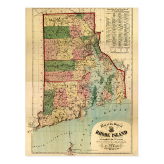 Rhode Island & Providence Plantations Map (1880) Postcard