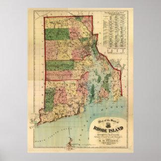 Rhode Island & Providence Plantations Map (1880) Poster