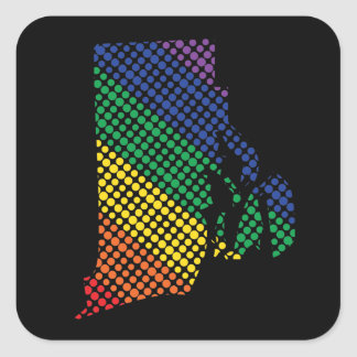 Rhode Island Rainbow State Square Sticker
