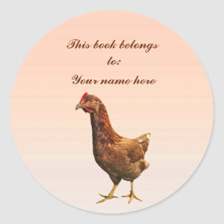 Rhode Island Red Hen Chicken Bookplate Classic Round Sticker