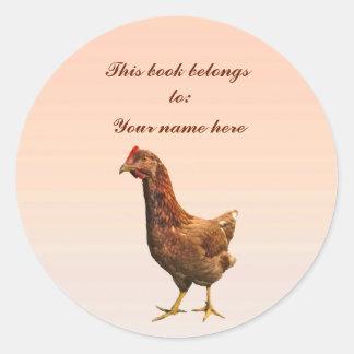 Rhode Island Red Hen Chicken Bookplate Round Sticker