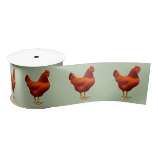 Rhode Island Red Hen Satin Ribbon