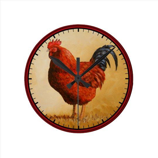 Rhode Island Red Rooster Chicken Clocks