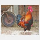 Rhode Island Red Rooster Crowing in Barnyard Fleece Blanket