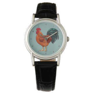 Rhode Island Red Rooster Crowing Watch