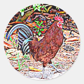 Rhode Island Red Rooster Round Sticker