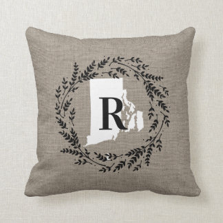 Rhode Island Rustic Wreath Monogram Throw Pillow