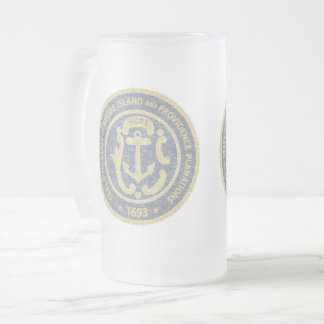 Rhode Island Seal Frosted Glass Beer Mug