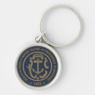 Rhode Island Seal Silver-Colored Round Keychain