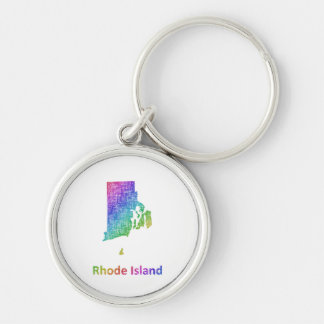Rhode Island Silver-Colored Round Keychain