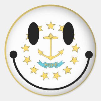 Rhode Island Smiley Classic Round Sticker
