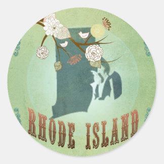 Rhode Island State Map – Green Round Sticker