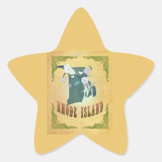 Rhode Island State Map- Passion Fruit Yellow Star Sticker