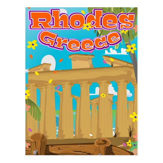 Rhodes Greece Travel poster. Postcard