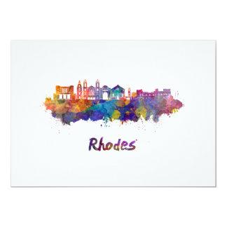 Rhodes skyline in watercolor card