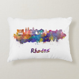 Rhodes skyline in watercolor decorative pillow