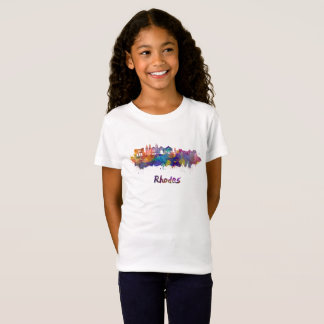 Rhodes skyline in watercolor T-Shirt