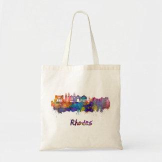 Rhodes skyline in watercolor tote bag