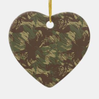 Rhodesian Bush Camo Ceramic Heart Ornament