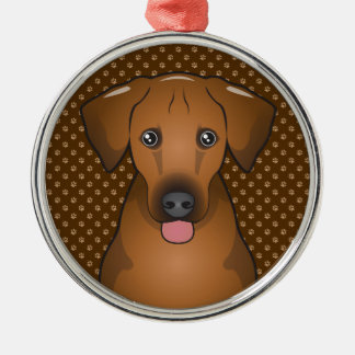 Rhodesian Ridgeback Dog Cartoon Paws Metal Ornament