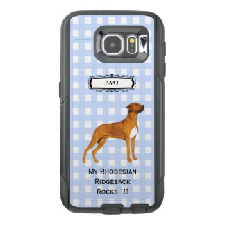 Rhodesian Ridgeback, Monogramed Blue Gingham S6 OtterBox Samsung Galaxy S6 Case