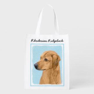 Rhodesian Ridgeback Painting - Original Dog Art Reusable Grocery Bag